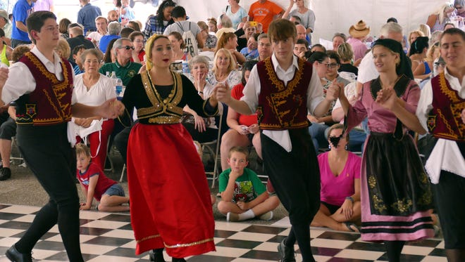 Members of the Glentzethes dance group perform Saturday afternoon at the 56th annual Greek Festival of Pensacola.