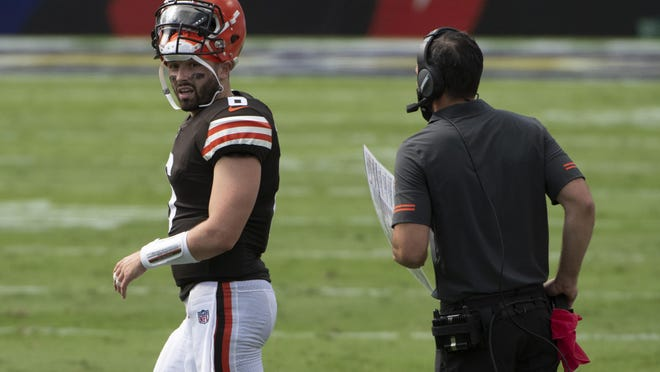Sep 13, 2020; Baltimore, Maryland, USA;  Cleveland Browns quarterback Baker Mayfield (6) speaks with Cleveland Browns head coach Kevin Stefanski during the game against the Baltimore Ravens at M&T Bank Stadium. Mandatory Credit: Tommy Gilligan-USA TODAY Sports