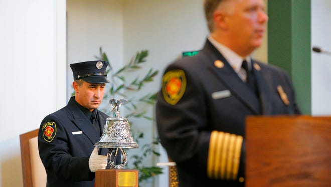 The Tolling of the Bell ceremony during the 15th annual Monterey County Firefighter's Memorial on Wednesday at St. Jude Church in Marina.