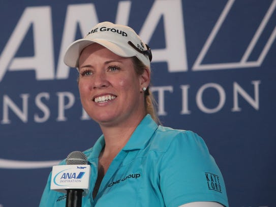 Brittany Lincicome speaks to media at the ANA Inspiration