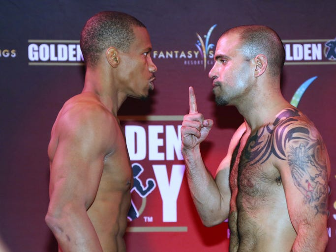 "IBF junior Middleweights Cornelius ""K9"" Bundrage and Joey Hernandez face off during pre fight weigh-ins at Fantasy Springs Resort Casino in Indio, CA, Thursday, January 23, 2014.  Michael Snyder/The Desert Sun"