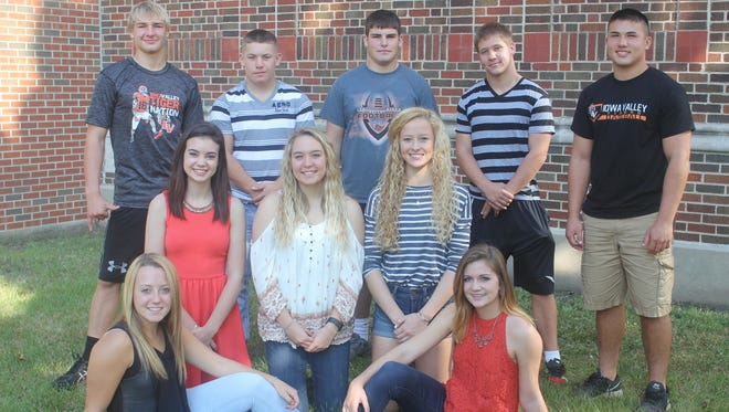 The 2016 Iowa Valley homecoming court has been announced. Front row (l-r): Isabel Patterson and Elizabeth Smith. Second row: Anna Jordan, RyAnn Mattison and Ellie Herrmann. Back row: Jacob Krakow, Bryadon Hudepohl, Jayson Krakow, Lucas Ahrens and Bennett Goettsch. The king will be crowned during a special pep assembly Thursday, Sept. 29, while the queen will be crowned at halftime of the Tigers' football game vs. Springville on Friday, Sept. 30.