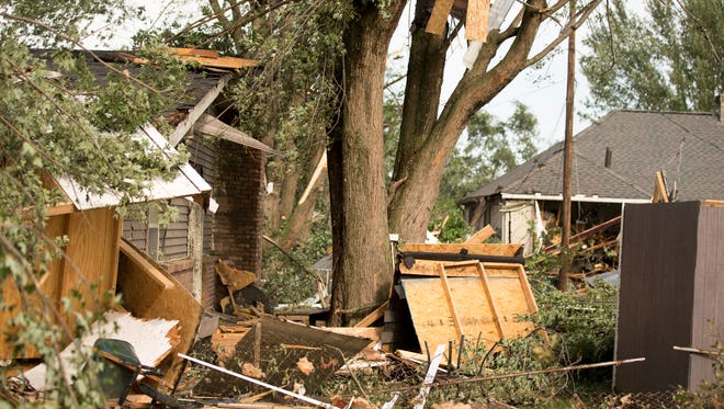 Damage from a tornado that touched down in Kokomo, Wednesday, Aug. 24, 2016.
