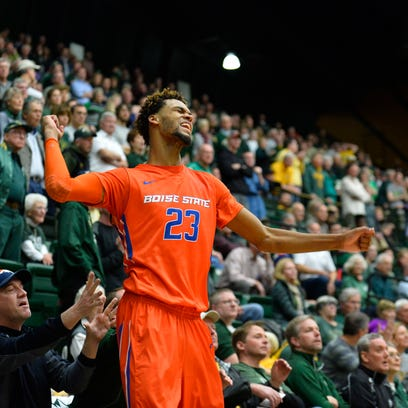 Boise State forward James Webb III (23) reacts to a