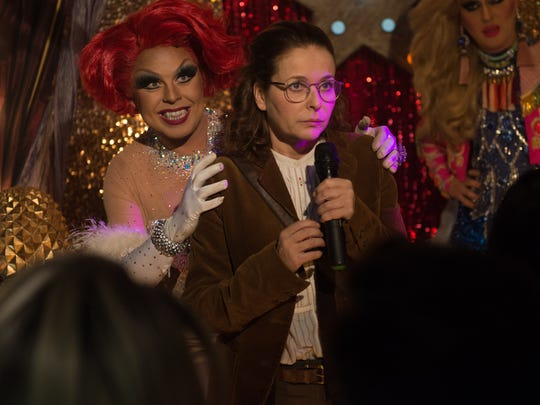 """Saffy (Julia Sawalha) finally gets her chance to shine in """"Absolutely Fabulous: The Movie."""" It just takes a gay Karaoke bar and a Janis Ian tune."""