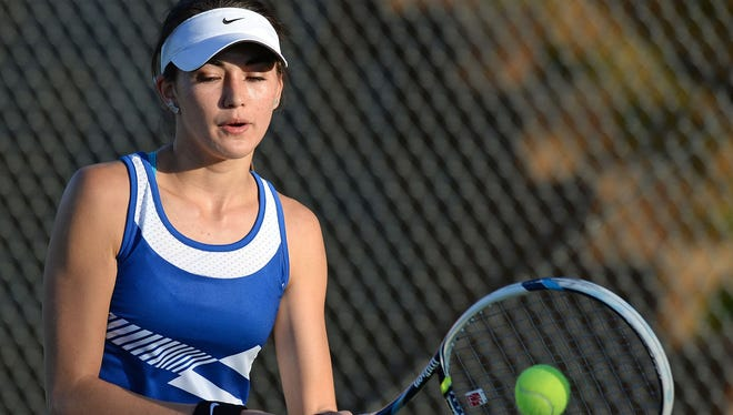 Sophomore Zayn DeAndrade, a member of the Travelers Rest girls tennis team since the seventh grade, has moved up to No. 1 this season.