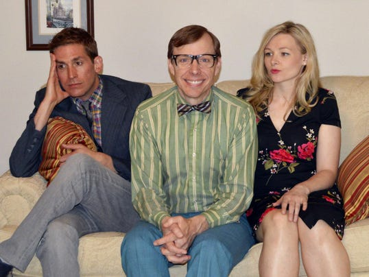 """From left, actors Eric Szmanda, Shane Partlow and Kelsey Landon rehearse a scene from Larry Shue's comedy """"The Nerd,"""" which opens May 30 at Totem Pole Playhouse, Fayetteville."""