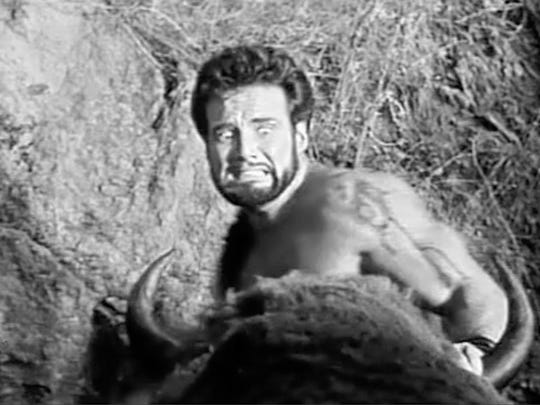 """Steve Reeves in a scene from """"Hercules,"""" one of the"""