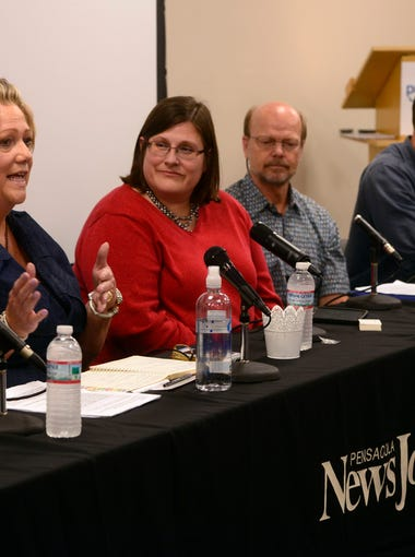A panel of speakers take questions during a forum hosted by the Pensacola News Journal Monday on the five year anniversary of the Deepwater Horizon oil spill.
