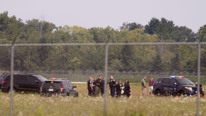 An investigation at the Indianapolis Metropolitan Airport in Fishers, Thursday, August 31, 2017.