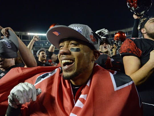 Dec 5, 2015; San Diego, CA, USA; San Diego State Aztecs running back Donnel Pumphrey (19) celebrate after the Aztecs beat the Air Force Falcons 27-24 to win the Mountain West Conference at Qualcomm Stadium.