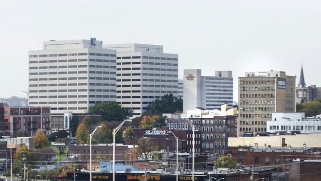 The Knoxville skyline pictured Nov. 4, 2014, showing TVA Towers, the Crowne Plaza hotel and the Sterchi Lofts.
