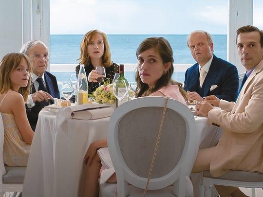 """Happy Ending"" stars (from left) Fantine Harduin, Jean-Louis Trintignant, Isabelle Huppert, Laura Verlinden, Toby Jones and Mathieu Kassovitz."