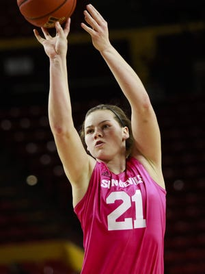 ASU's Sophie Brunner makes a free-throw in the last seconds of the game to bring ASU to the lead as ASU faces off against USC on Sunday, Feb. 7, 2016, at Wells Fargo Arena in Tempe, Ariz. ASU beat USC 69-68.