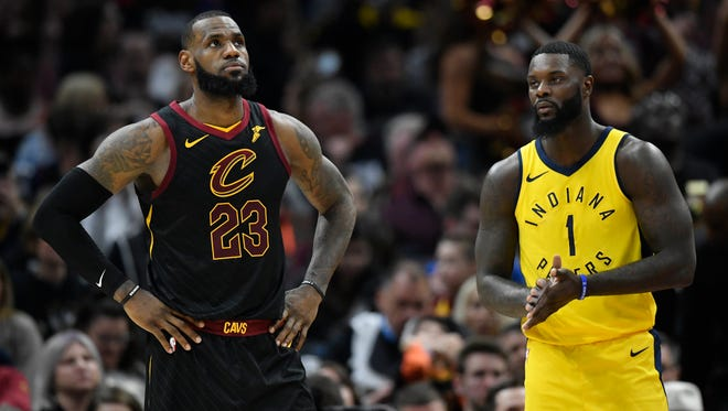 Apr 15, 2018; Cleveland, OH, USA; Cleveland Cavaliers forward LeBron James (23) and Indiana Pacers guard Lance Stephenson (1) in the second quarter in game one of the first round of the 2018 NBA Playoffs at Quicken Loans Arena. Mandatory Credit: David Richard-USA TODAY Sports