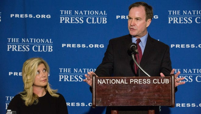 Michigan Attorney General Bill Schuette discusses the affirmative action case Monday in Washington.
