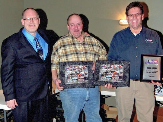 """Joe Verdegan, left, author of the new book Life in the Past Lane: The Next Generation,"""" poses with Luxemburg Speedway promoters Bobby Dorner and Rick Goral at the promoters' final awards banquet in January 2012."""