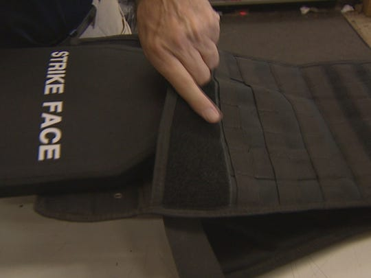 Ceramic plates go in the front and back of the vest