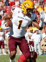 Arizona State receiver N'Keal Harry runs with the ball