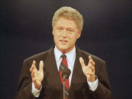 Democratic presidential candidate Bill Clinton speaks