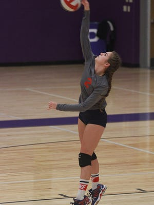 Creek wood's Lydia Edmonson serves against Portland in Portland, TN on Tues. Oct. 10, 2017.  Photo by Dave Cardaciotto