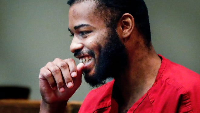 Justin Welch, smiles during a appearance in court Tuesday for a hearing involving his mental competency to stand trial and whether he should be medicated against his will. Welch, is charged with fatally hitting Memphis police Officer Verdell Smith with a stolen car and shooting three other people downtown last year.