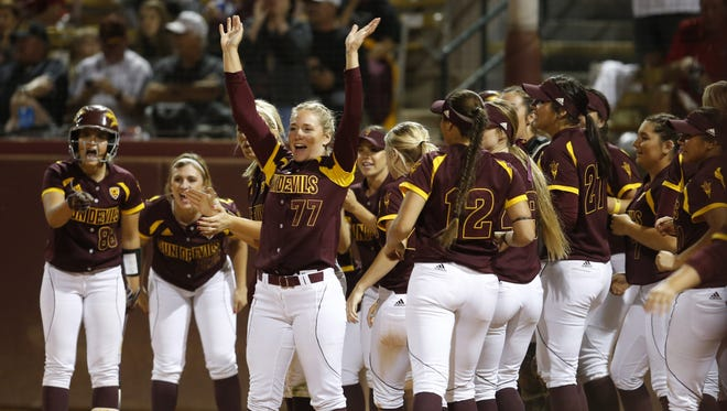 Arizona State celebrates a home run by outfielder Jennifer Soria during the fifth inning of a women's softball game against Nebraska at ASU Farrington Stadium in Tempe on March 11, 2016.