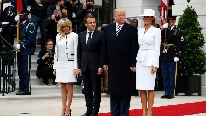 President Trump, first lady Melania Trump, French President