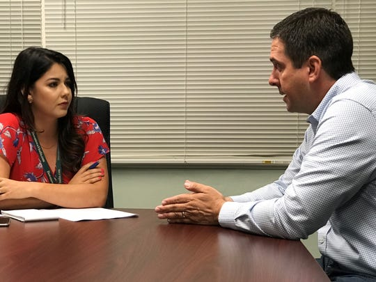 Rep. Devin Nunes speaks to Visalia Times-Delta reporter
