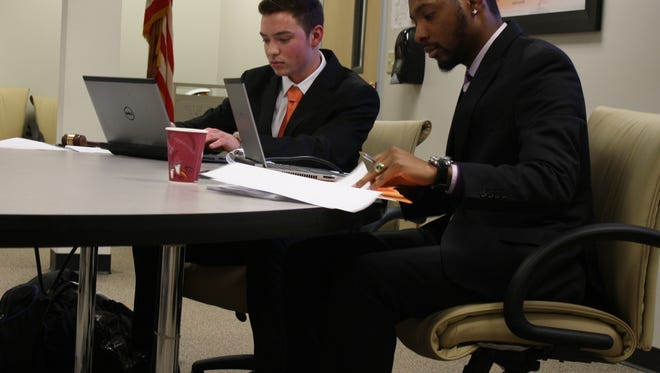 Ethan Hirst and Andrew Mathis led a Feb. 1 Mock State Senate session at the Union-Endicott School District Office Building.