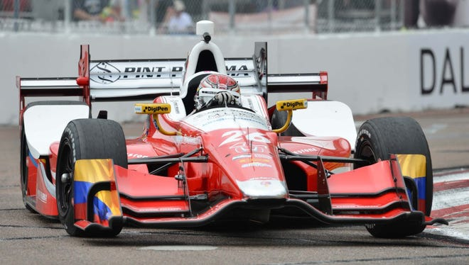 Verizon IndyCar Series driver Carlos Munoz (26) during practice for the Grand Prix of St. Petersburg at streets of St. Petersburg.