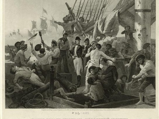 Commodore Macdeonough aboard Saratoga by Aloonzo Chappell