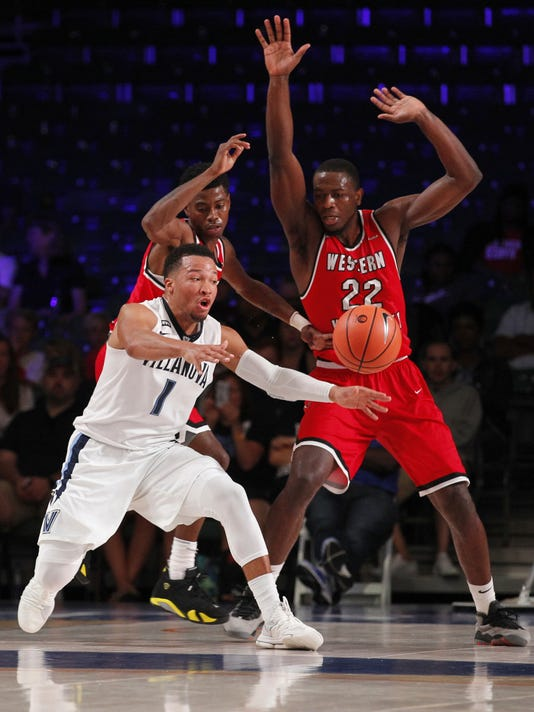Villanova guard Jalen Brunson (1) receives the pass during an NCAA college basketball game Wednesday, Nov. 22, 2017 in the Bad Boy Mowers Battle 4 Atlantis tournament in Paradise Island, Bahamas. (Tim Aylen/Bahamas Visual Services via AP)