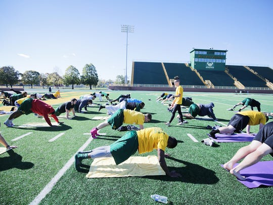 Wayne State football players go with the slow flow