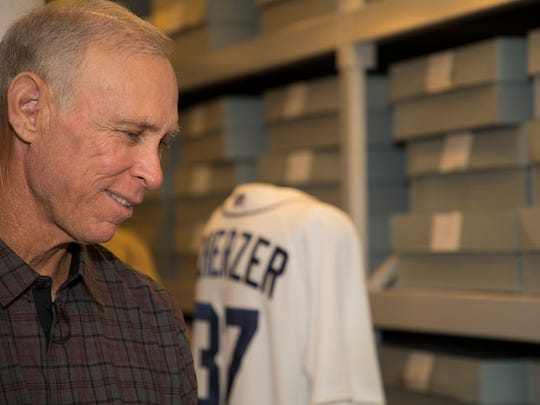 Former Tigers shortstop and future Hall of Fame inductee Alan Trammell looks at a Tigers jersey worn by Max Scherzer in 2013 in the background. Trammell visited the Hall of Fame on Thursday, March 15, 2018.