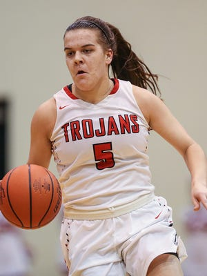 FILE – Cassidy Hardin was one of three Trojans to reach double figures in Center Grove's sectional title win over Martinsville on Saturday.