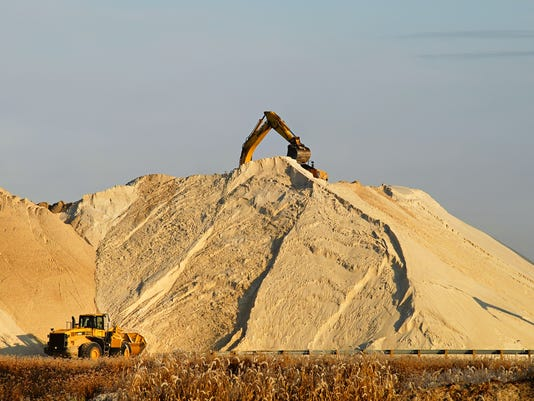 sand mine with tractor