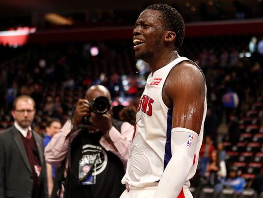 Detroit Pistons guard Reggie Jackson (1) reacts after