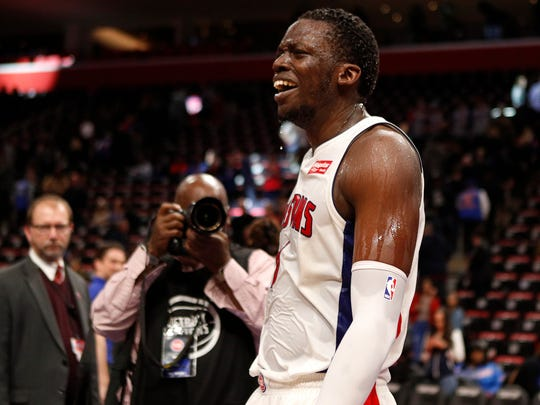 Detroit Pistons guard Reggie Jackson (1) reacts after water was poured on him after the game against the Dallas Mavericks at Little Caesars Arena on April 6, 2018.