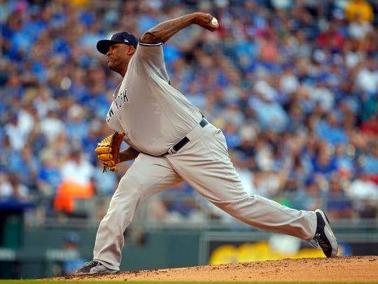 Yankees starter CC Sabathia (52) pitched into the seventh inning on Tuesday, May 16, 2017, allowing no runs and only five hits in the leading the Yankees past the Royals at Kauffman Stadium, Kansas City.