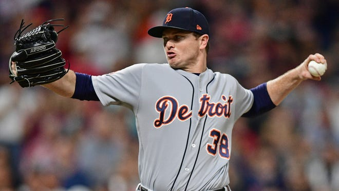 Tigers pitcher Justin Wilson delivers in the eighth inning of the Tigers' 5-3 win Sunday in Cleveland.