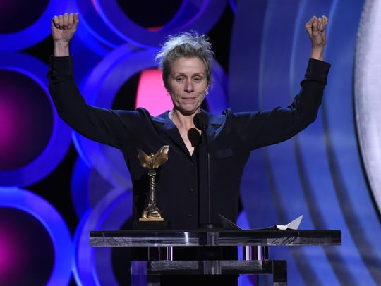 Frances McDormand accepts the award for best female