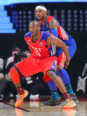 Kobe Bryant, front, and Carmelo Anthony are All-Star scorers but could be teammates this offseason if the Lakers can sign Anthony.