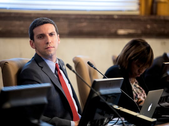 Council member P.G. Sittenfeld waits to vote on an infrastructure financing plan for FC Cincinnati at City Hall in downtown Cincinnati Wednesday, November 29, 2017. City Council passed the FC Stadium deal 5-3 to clear the way for MLS bid.