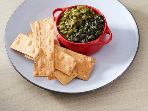 The olive tapenade duo and bread crisps have 16.6 mg
