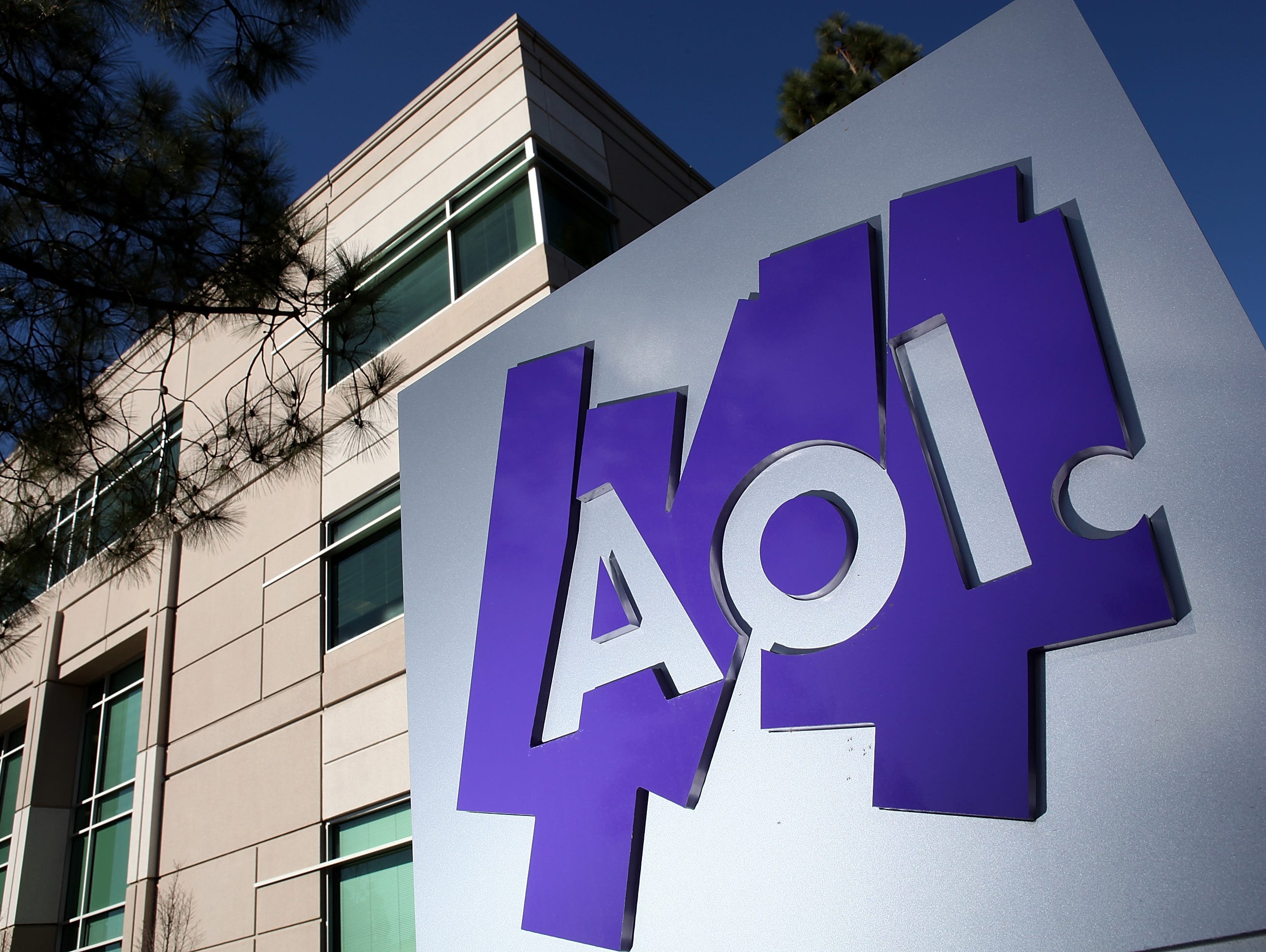 AOL shares jumped Friday after it reported first quarter revenue that was buoyed by growth in advertising sales.