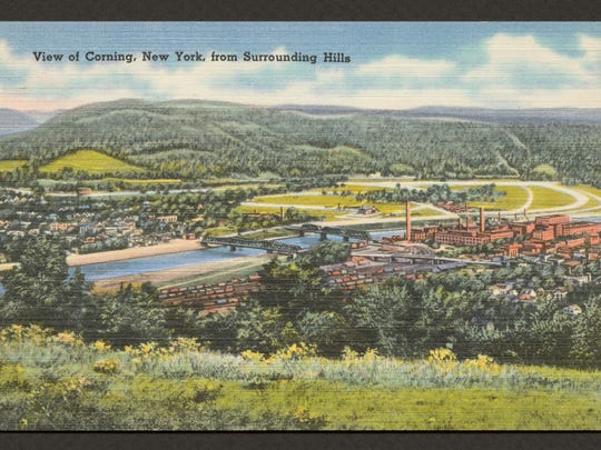 Postcard, View of Corning New York from Surrounding Hills, Boston: Tichnor Bros., Inc., about 1930-44.