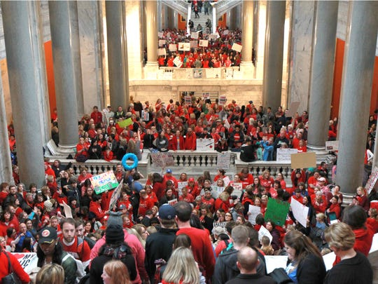 Teachers and supportes packed the state Capitol in April 2018 for a protest over proposed pension changes.