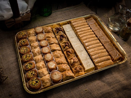 A holiday tray of Baklawa from Shatila Bakery