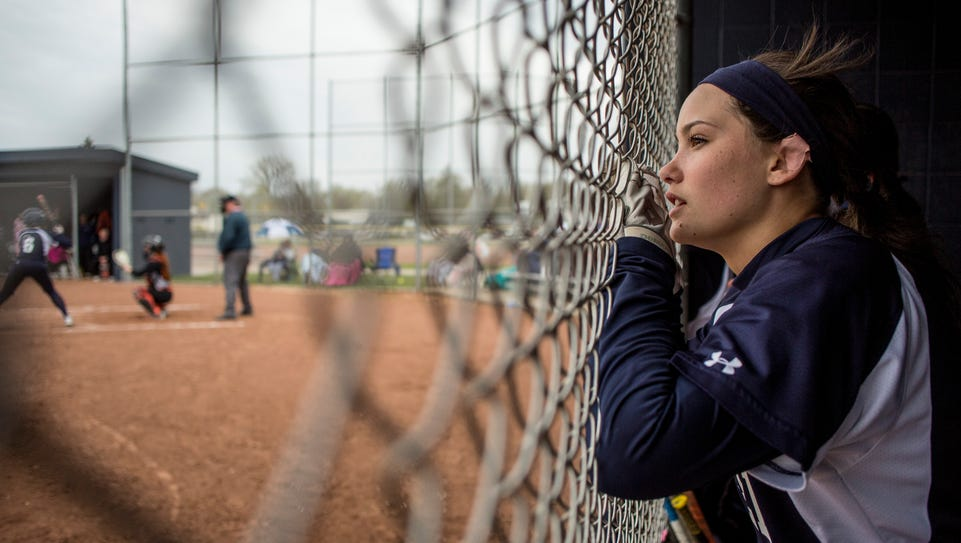 Marysville's Samantha Smith watches the action from